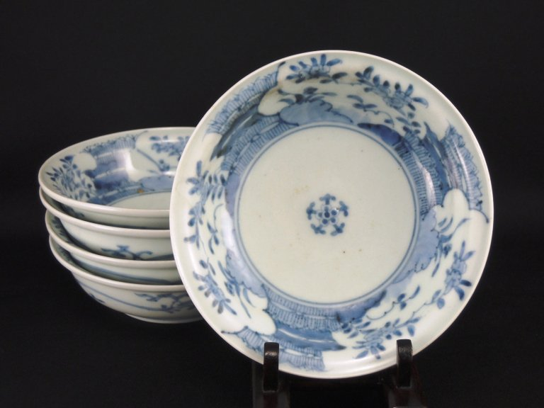 伊万里染付芝垣文なます皿 五枚組 / Imari Blue & White 'Namasu' Bowls  set of 5