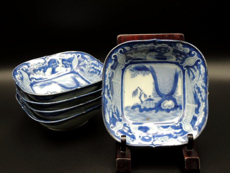 伊万里染付角小鉢 五客組 / Imari Blue & White bowls  set of 5