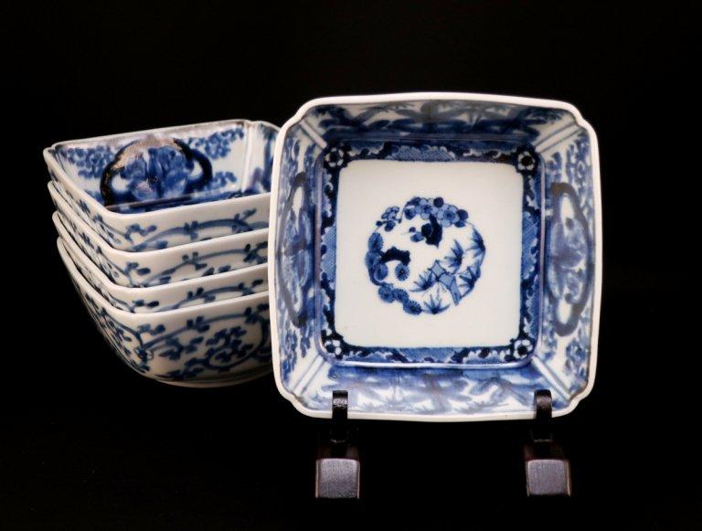 伊万里染付角小鉢 五客組 / Imari Square Blue & White Bowls  set of 5