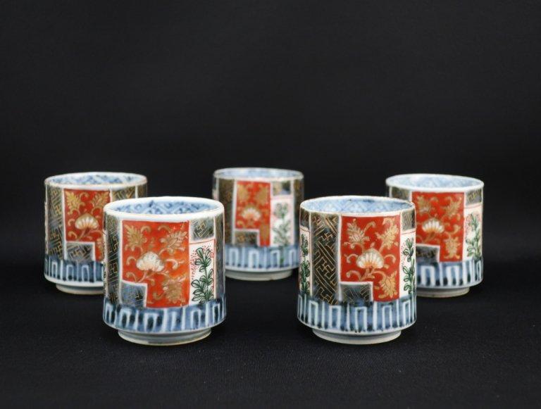 伊万里色絵覗猪口 五客組 / Imari Polychome Small Cups  set of 5