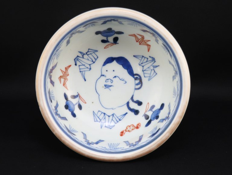伊万里色絵お多福文盃洗 / Imari Polychrome 'Haisen' Sake cup Washing Bowl with the picture of 'Otafuku'