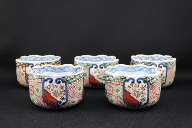 大聖寺伊万里色絵向付 五客組 / Daishoji Imari Polychrome 'Mukoduke' Cups  set of 5