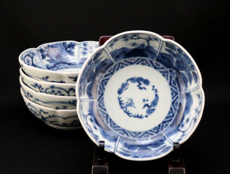 伊万里染付梅花形牡丹文なます皿 / Imari Blue & White 'Namasu' Bowls  set of 5