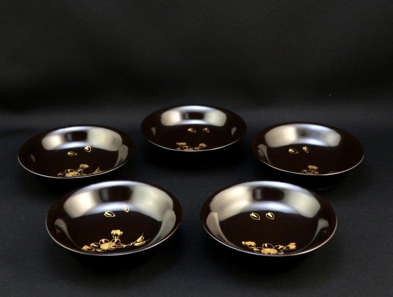 黒塗沈金桜蒔絵小皿 五枚組 / Black-lacquered Small Plates with 'Makie' pitcure of Sakura  set of 5