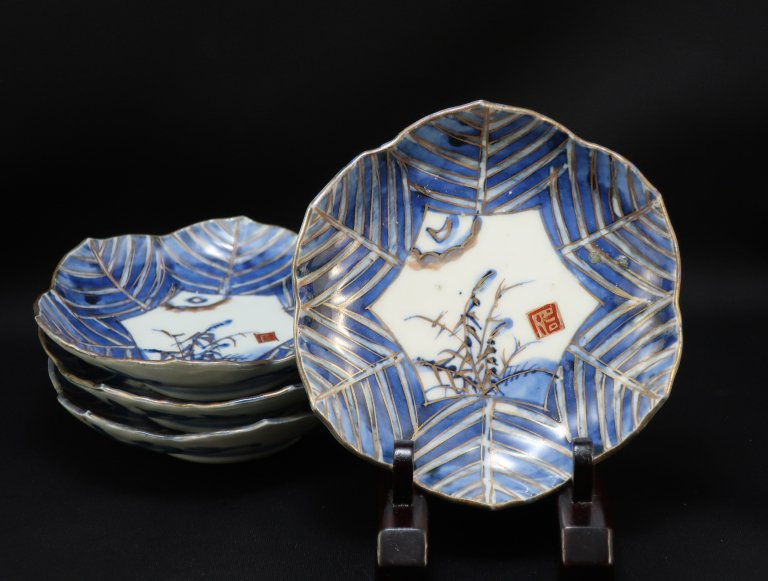 伊万里金彩染付葉形皿 四枚組 / Imari Leaf-shaped Plates  set of 4