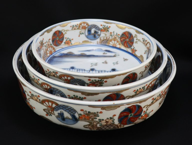 伊万里色絵帆船図三つ組鉢 / Imari Polychrome Bowls with the picture of Boats  set of 3