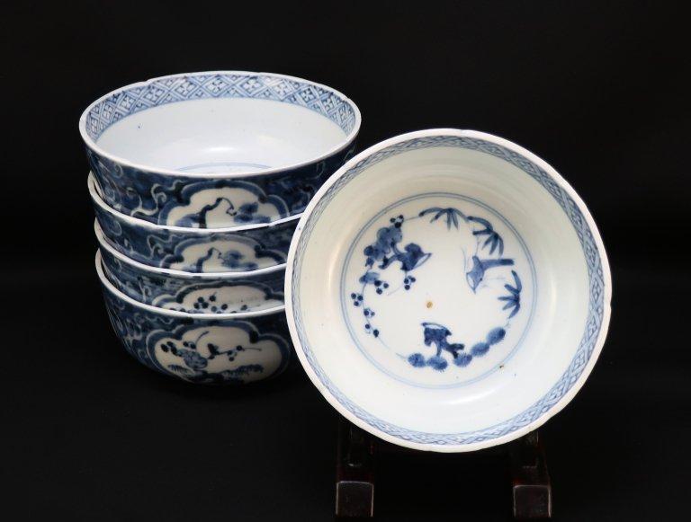 伊万里染付俊寛鉢(大なます皿) 五客組 / Imari Blue & White Bowl  set of 5