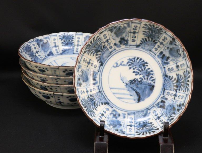 伊万里染付芙蓉手文なます皿(浅め)五枚組 / Imari Blue & White Plates  set of 5