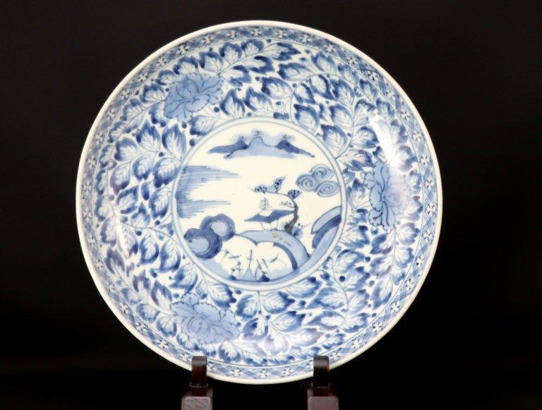 伊万里染付牡丹唐草文尺皿 / Imari Large Blue & White Plate