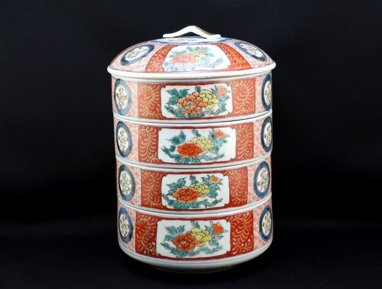 伊万里色絵梅牡丹文四段重 / Imari Polychrome 'Danju' Food Boxes