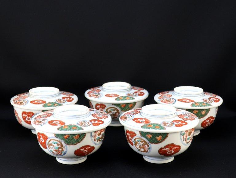 伊万里色絵蓋茶碗 五客組 / Imari Polychrome Bowls with Lids  set of 5