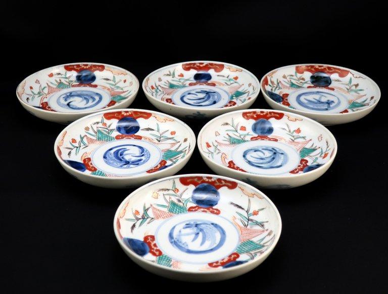伊万里色絵千鳥文五寸皿 六枚組 / Imari Polychrome Plates  set of 6