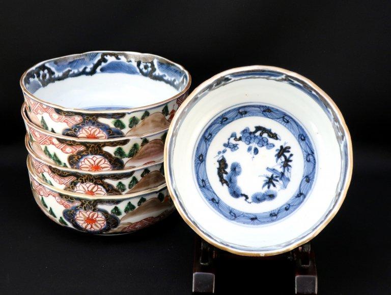 伊万里色絵鉄仙山水文大なます皿 五枚組 / Imari Large Poluchrome 'Namasu' Bowls  set of 5