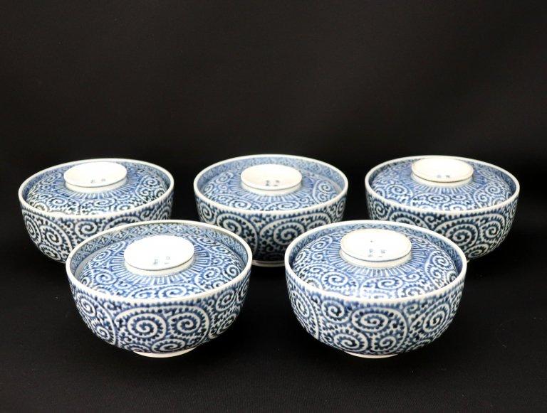 伊万里染付蛸唐草文蓋茶碗 五客組 / Imari Blue & White Bowls with Lids with the pattern of Takokarakusa  set of 5