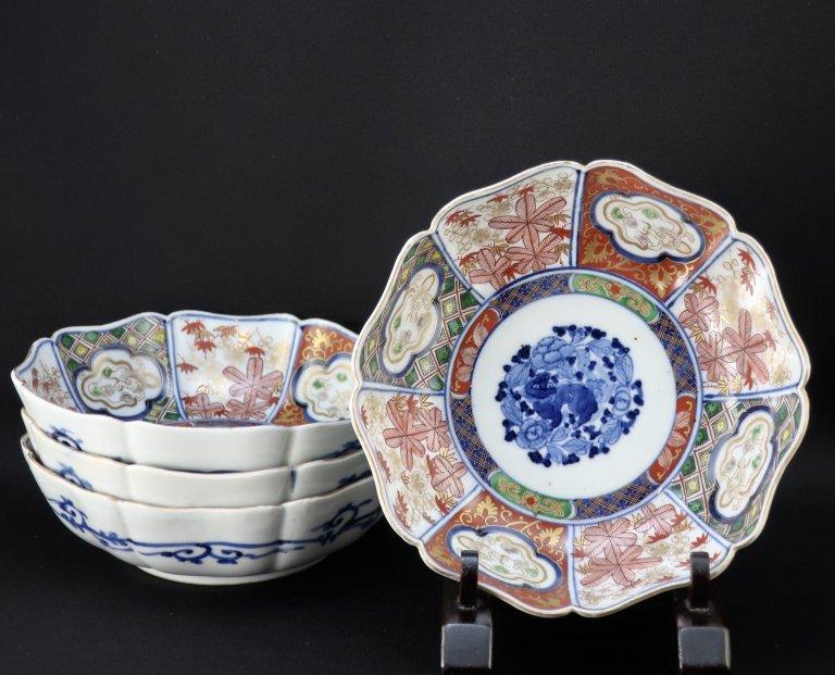 大聖寺伊万里色絵なます皿 四枚組 / Daishoji Imari Polychrome 'Namasu' Bowls  set of 4
