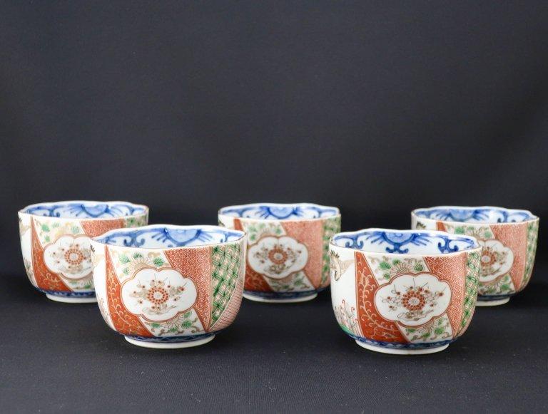 大聖寺伊万里色絵大向付 五客組 / Daishoji Imari Polychrome 'Mukoduke' Cups  set of 5
