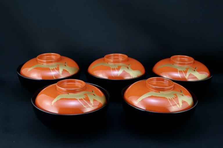 日の出鶴蒔絵吸物椀 五客組 / Lacquered Soup Bowls with 'Make' picture of Cranes  set of 5