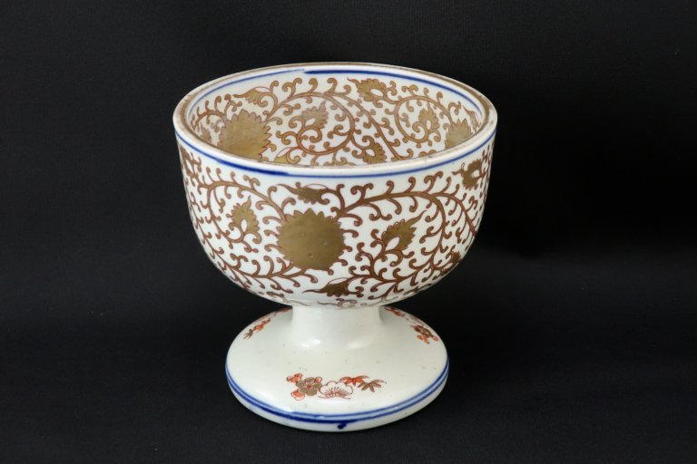 伊万里金彩唐草鶴文盃洗 / Imari 'Haisen' Sake Cup Washing Bowl with the pattern of Gold 'Karakusa' and Crane