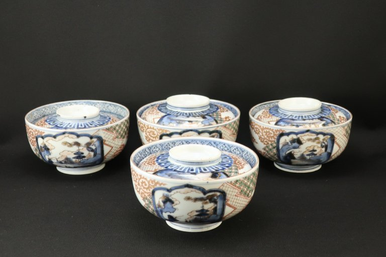 伊万里金彩唐草山水窓絵文蓋茶碗 四客組 / Imari Polychrome Bowls with Lids  set of 4