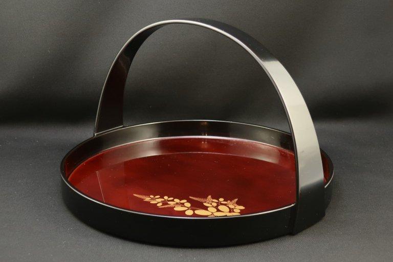 輪島塗蒔絵付溜塗手付盛器 / Wajima-lacquered Tray with Handle with 'Make' picture