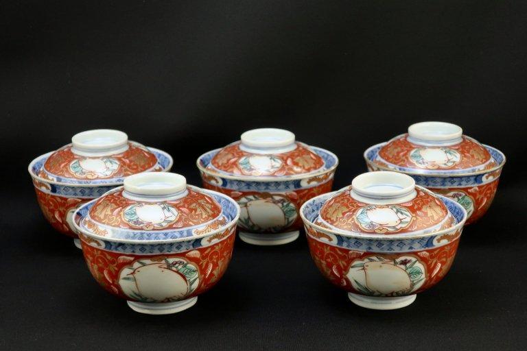 伊万里色絵鷺文蓋茶碗 五客組 / Imari Polychrome Bowls with Lids  set of 5