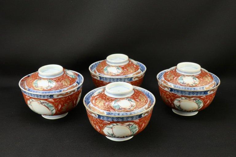伊万里色絵鷺文蓋茶碗 四客組 / Imari Polychrome Bowls with Lids  set of 4
