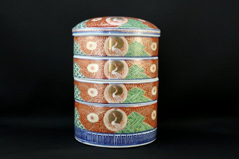 伊万里色絵鶴亀文段重 / Imari Polychrome ' Danju' Food Boxes