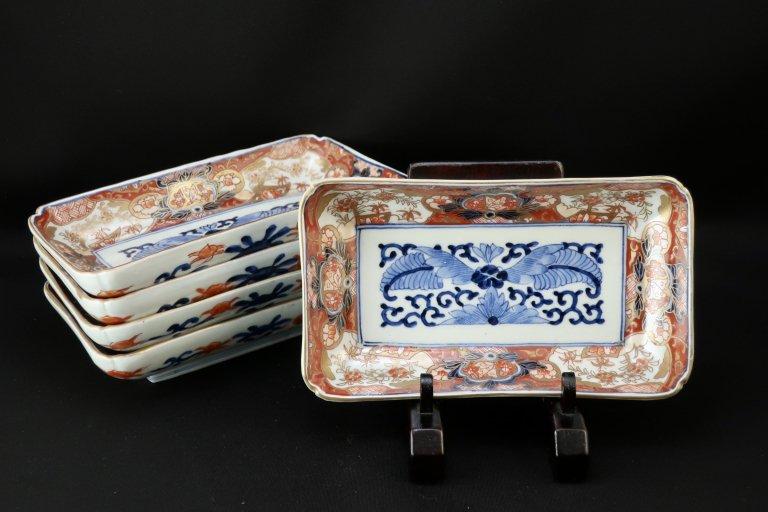 伊万里色絵花蝶文長皿 五枚組 / Imari Rectangular Polychrome Plates  set of 5