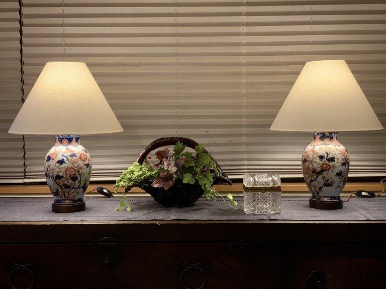 伊万里色絵花瓶テーブルランプ 一対 / Table Lamp of Imari Polychrome Pot  1pair
