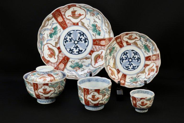 伊万里色絵通りもの(七寸皿・なます皿・蓋茶碗・向付・覗猪口)25ピース / Imari Polychrome Dinner Set  25 pieces