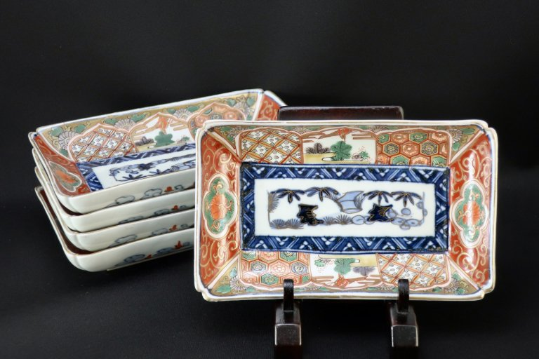 伊万里色絵長皿 五枚組  / Imari Rectangular Polychrome Plates  set of 5