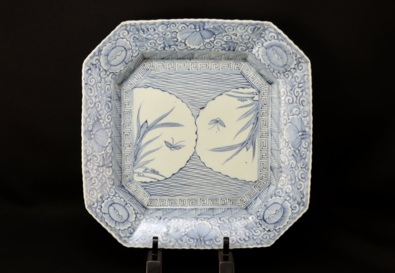 伊万里線描染付隅切角大皿 / Imari Large Square Blue & White Plate