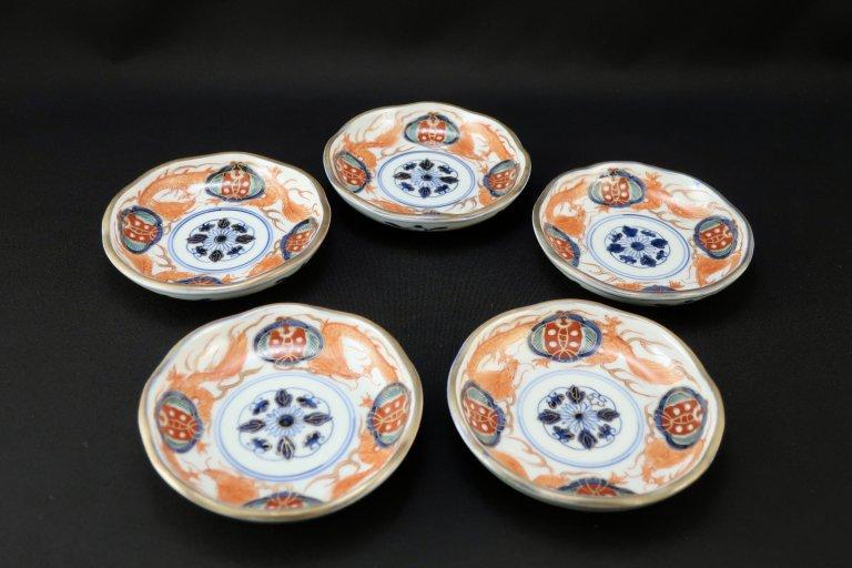伊万里色絵龍文小皿 五枚組 / Imari Small Polychrome Plates with the picture of Dragons  set of 5