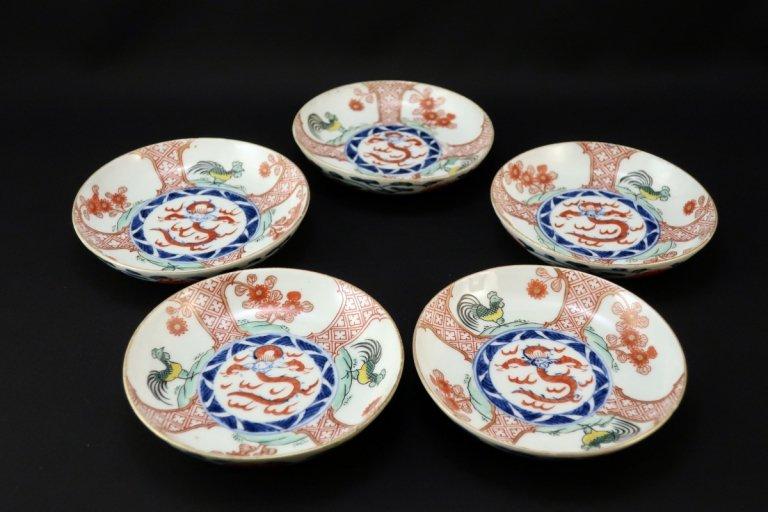 伊万里色絵龍文小皿 五枚組 / Imari Small Polychrome Plates  set of 5