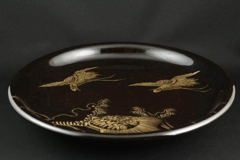輪島塗沈金鶴亀蒔絵大皿(小) /  Wajima-lacquered Large Plate with 'Makie' picture of Cranes and Tortoise