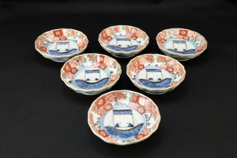伊万里色絵舟遊の図小皿 六枚組 / Imari Smal Polychrome Plates  set of 6