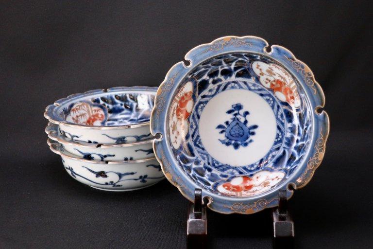 伊万里色絵牡丹唐草松竹梅文なます皿 四枚組 / Imari Polychrome 'Namasu' Bowls  set of 4