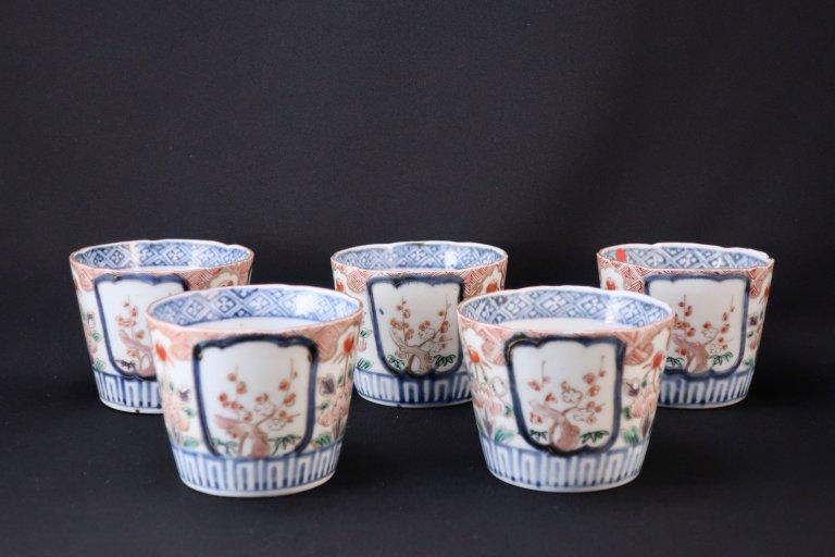伊万里色絵松竹梅牡丹文蕎麦猪口 五客組 / Imari Pooychrome 'Soba' Cups  set of 5