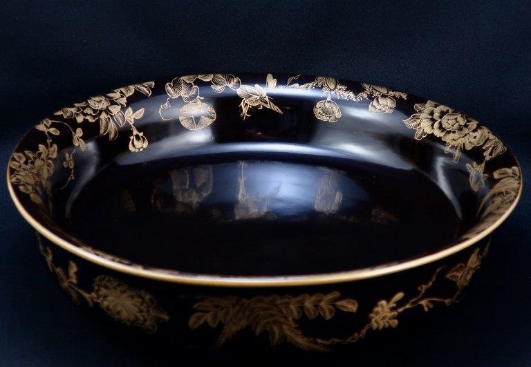 黒塗沈金草花蒔絵大鉢 / Large Black-lacquered Bowl with 'Makie' of Flowers