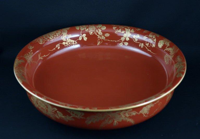 朱塗沈金草花蒔絵大鉢 / Large Red-lacquered Bowl with 'Makie' of Flowers