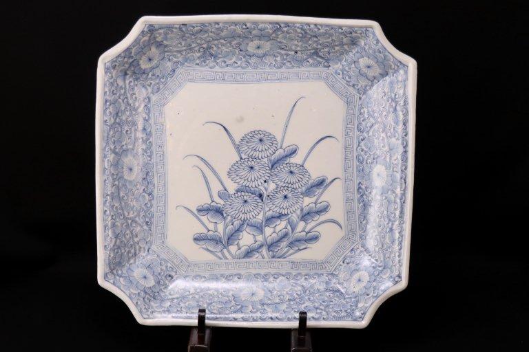 伊万里線描染付菊花文角大皿 / Imari Large Square Blue & White Plate