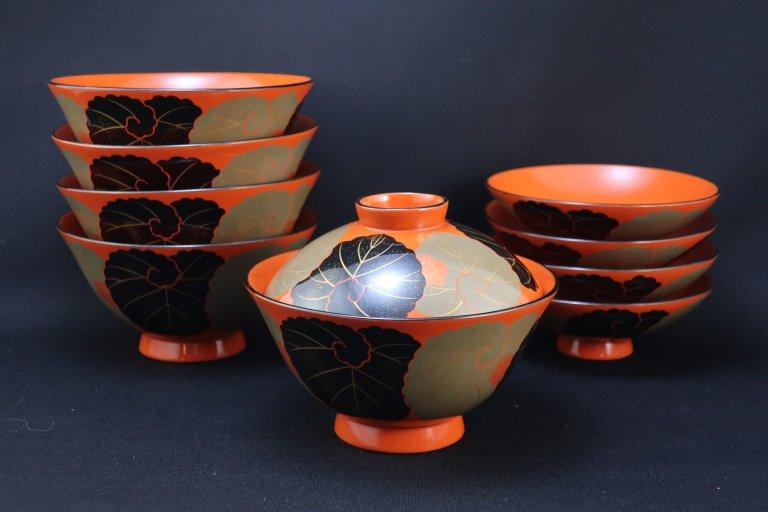 朱塗茶碗形吸物椀 四客組 / Red-lacquered Soup Bowls with Lids  set of 4