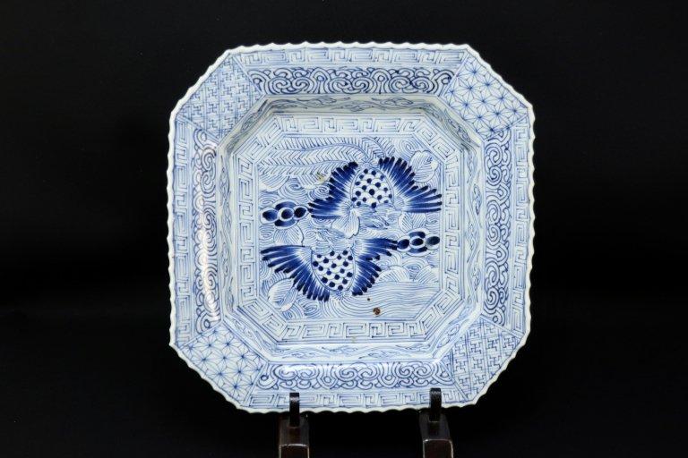 伊万里線描染付鳳凰文隅切角皿 / Imari Square Blue & White Plate