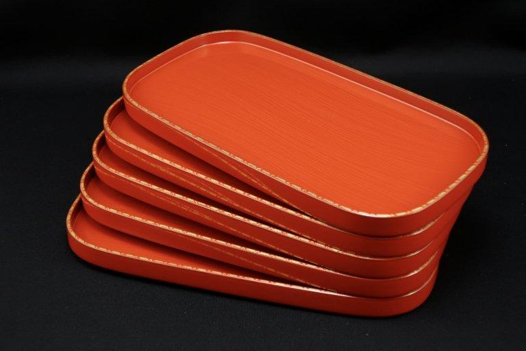輪島塗沈金蒔絵銘々皿 五枚組 / Wajima-lacuqered Rectangular Plates  set of 5