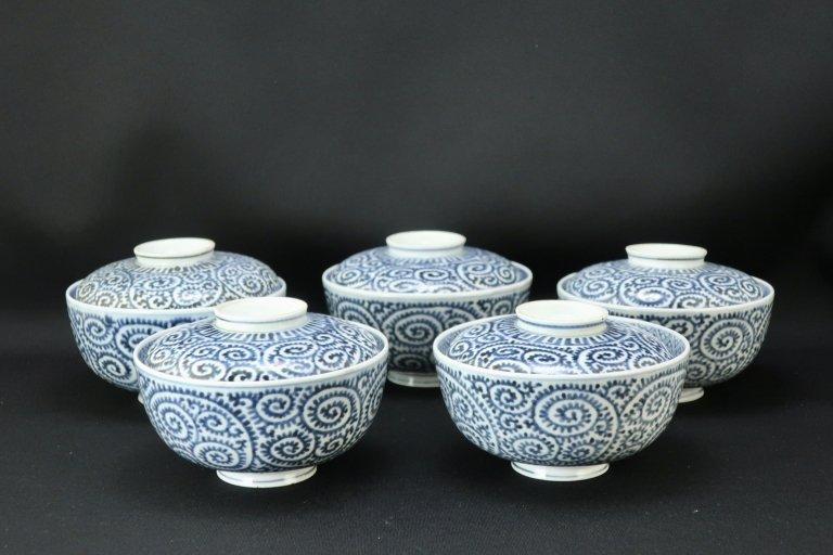 伊万里染付蛸唐草文蓋茶碗 五客組 / Imari Blue & White Bowls with Lids  set of 5