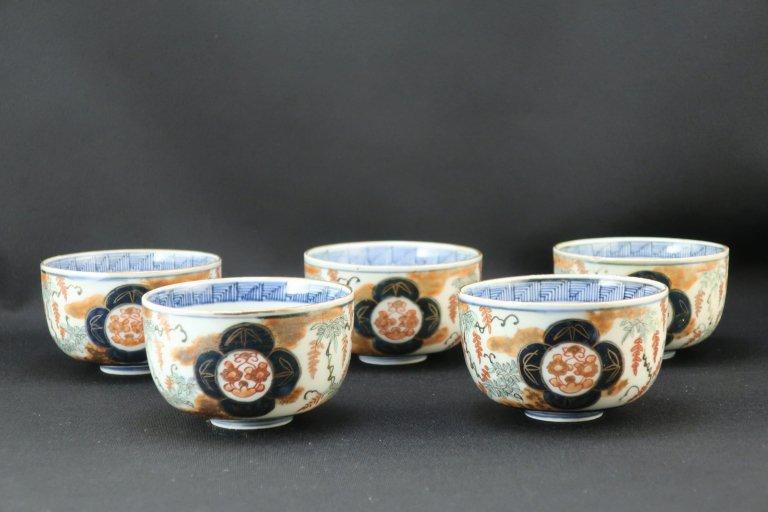 伊万里藤文色絵輪茶碗 五客組 / Imari Polychrome Tea Cups with the picture of Wisteria  set of 5