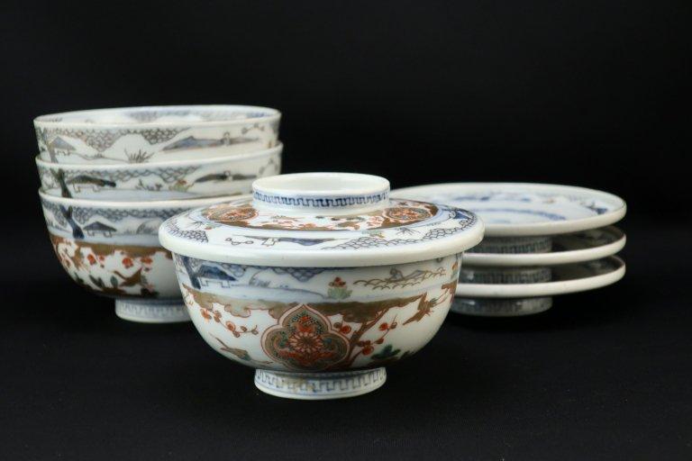 伊万里色絵蓋茶碗 四客組 / Imari Polychrome Bowls with Lids  set of 4