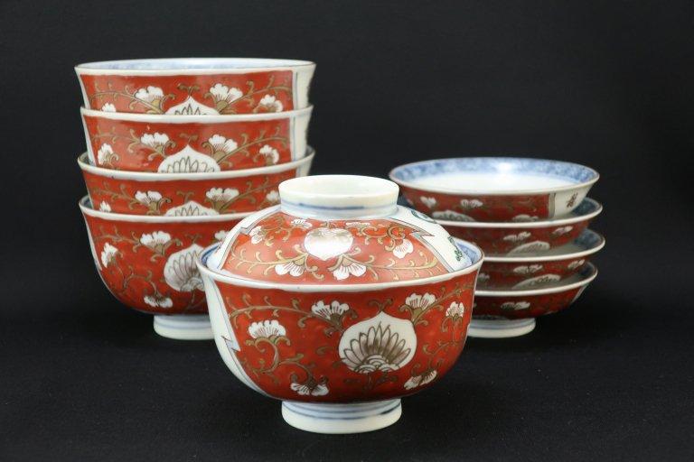 伊万里色絵登竜門の図蓋茶碗 五客組 / Imari Polychrome Bowls wit Lids  set of 5