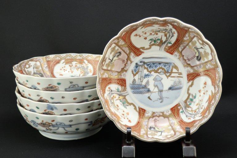 伊万里色絵大なます皿 五枚組 / Imari Large Polychrome 'Namasu' Bowls  set of 5