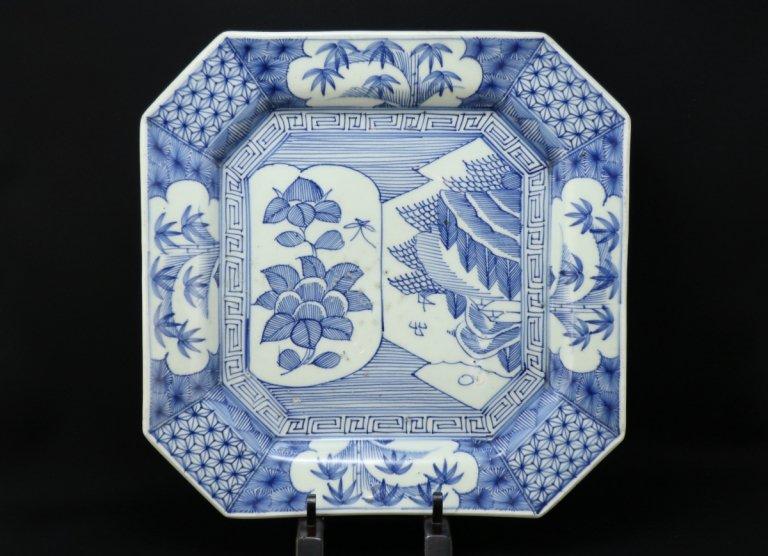 伊万里線描染付隅切角大皿 / Imari Large Square Bue & White Plate